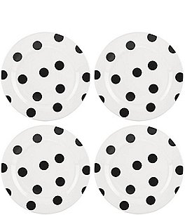 Image of kate spade new york All in Good Taste Black Deco Dot Salad Plates, Set of 4