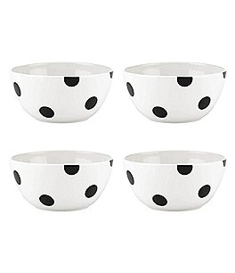 Image of kate spade new york All in Good Taste Black Deco Dot Cereal Bowls, Set of 4
