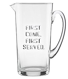 Image of kate spade new york All in Good Taste First Come, First Served Glass Pitcher