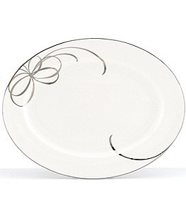 Image of kate spade new york Belle Boulevard Bow Platinum Oval Platter