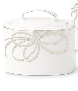 Image of kate spade new york Belle Boulevard Bow Platinum Sugar Bowl with Lid