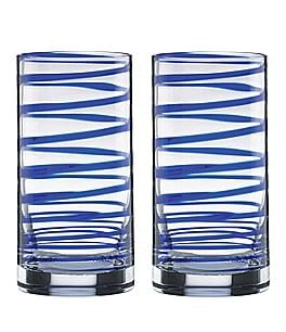 Image of kate spade new york Charlotte Street Blue Spiral Highball Glass Pair
