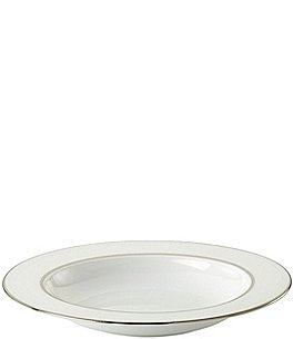 Image of kate spade new york Cypress Point China Striped Platinum Rimmed Pasta/Soup Bowl