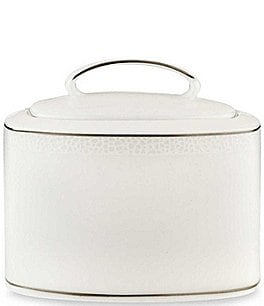 Image of kate spade new york Cypress Point Striped Platinum Sugar Bowl