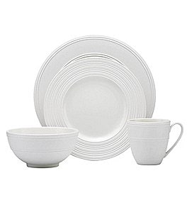 Image of kate spade new york Fair Harbor Channel-Rimmed Stoneware 4-Piece Place Setting