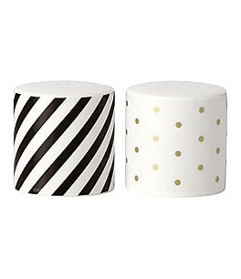 Image of kate spade new york Fairmount Park Striped & Dotted Round Porcelain Salt & Pepper Shaker Set