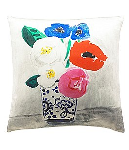 Image of kate spade new york Flower Vase Silk & Cotton Square Feather Pillow