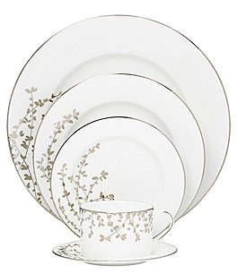 Image of kate spade new york Gardner Street Platinum Branches Bone China 5-Piece Place Setting