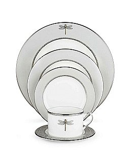 Image of kate spade new york June Lane Dragonfly Platinum Bone China 5-Piece Place Setting