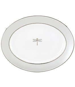 Image of kate spade new york June Lane Dragonfly Platinum Bone China Oval Platter