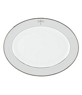 Image of kate spade new york June Lane Dragonfly-Rim Platinum Bone China Oval Platter