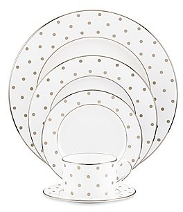 Image of kate spade new york Larabee Road Dotted Platinum Bone China 5-Piece Place Setting