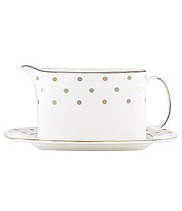 Image of kate spade new york Larabee Road Dotted Platinum Bone China Gravy Boat with Stand