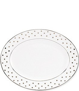 "Image of kate spade new york Larabee Road Dotted Platinum Bone China 16"" Oval Platter"