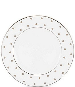 Image of kate spade new york Larabee Road Dotted Platinum Bone China Salad Plate