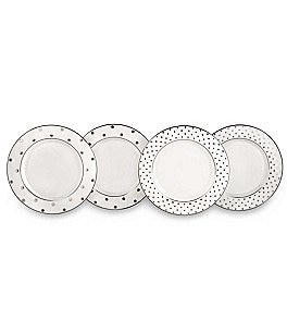 Image of kate spade new york Larabee Road Platinum China Set of 4 Tidbit Plates