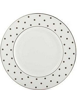 Image of kate spade new york Larabee Road Platinum-Dotted Bone China Accent Salad Plate