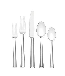 Image of kate spade new york Library Lane Ribbed 5-Piece Stainless Steel Flatware Set
