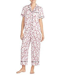 Image of kate spade new york Lipstick-Printed Satin Cropped Pajamas