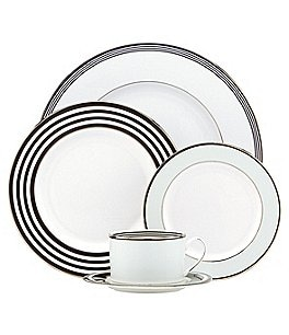 Image of kate spade new york Parker Place Striped Platinum Bone China 5-Piece Place Setting