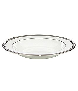 Image of kate spade new york Parker Place Striped Platinum Bone China Rimmed Soup Bowl