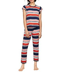 Image of kate spade new york Striped Jersey Flutter-Sleeve Capri Pajamas