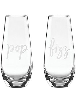 Image of kate spade new york Two of A Kind Pop & Fizz Crystal Stemless Champagne Glass Pair