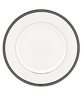 Image of kate spade new york Union Street Striped & Dotted Platinum Dinner Plate