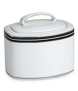 Image of kate spade new york Union Street Striped & Dotted Platinum Sugar Bowl