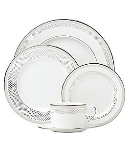 Image of kate spade new york Whitaker Street Dotted & Striped Platinum Bone China 5-Piece Place Setting