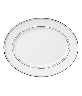 Image of kate spade new york Whitaker Street Dotted & Striped Platinum Bone China Oval Platter