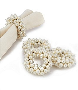 Image of Kemp & Beatley Tiffany Pearl Napkin Rings Set of 4
