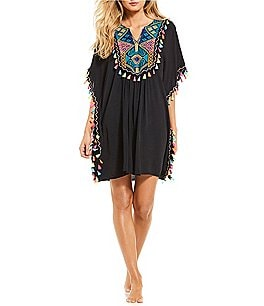 Image of La Moda Embroidered Pom Pom Cover-up