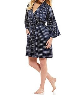 Image of Lauren Ralph Lauren Dot-Print Satin Wrap Robe