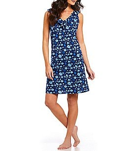 Image of Lauren Ralph Lauren Floral-Print Jersey Knit Nightgown