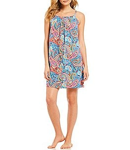 Image of Lauren Ralph Lauren Paisley-Print Jersey Knit Short Nightgown
