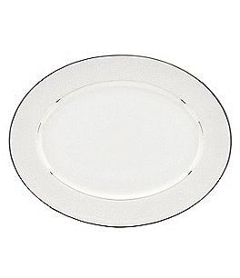 Image of Lenox Artemis Floral Platinum Bone China Oval Platter