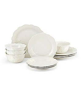 Image of Lenox Butterfly Meadow Carved Vanilla 12-Piece Dinnerware Set