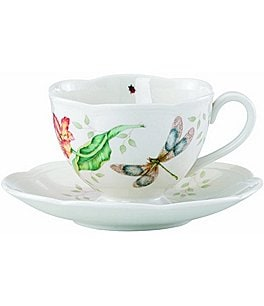 Image of Lenox Butterfly Meadow Floral Porcelain Cup & Saucer Set