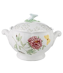 Image of Lenox Butterfly Meadow Porcelain Covered Vegetable Bowl