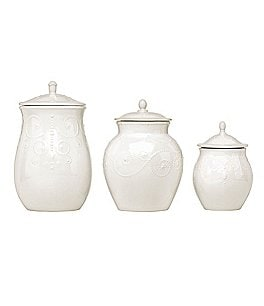 Image of Lenox China French Perle Scalloped Stoneware Set of 3 Canisters
