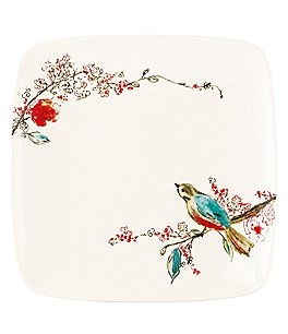 Image of Lenox Chirp Floral & Bird Bone China Square Accent Plate