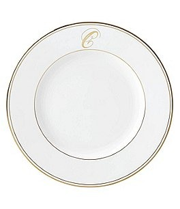 Image of Lenox Federal Gold Script-Monogrammed Dinner Plate