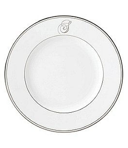 Image of Lenox Federal Platinum Script-Monogrammed Dinner Plate