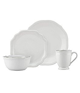 Image of Lenox French Perle Bead Scalloped Stoneware 4-Piece Place Setting