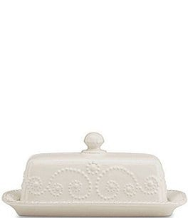Image of Lenox French Perle Scalloped Stoneware Covered Butter Dish