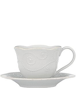 Image of Lenox French Perle Scalloped Stoneware Cup & Saucer Set