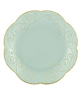 Image of Lenox 4-Piece French Perle Scalloped Stoneware Dessert Plate Set