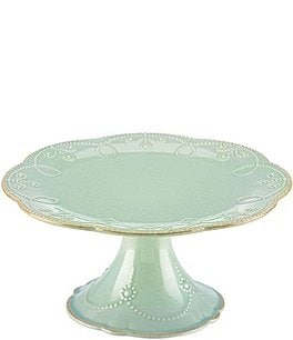 Image of Lenox French Perle Scalloped Stoneware Pedestal Cake Plate
