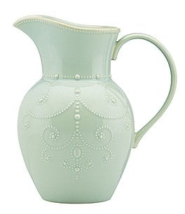Image of Lenox French Perle Large Scalloped Stoneware Pitcher